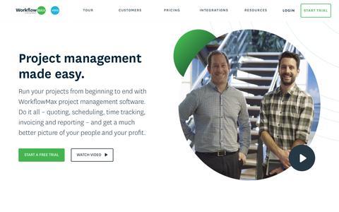 Screenshot of Home Page workflowmax.com - Online Project Management Software | WorkflowMax - captured July 25, 2019