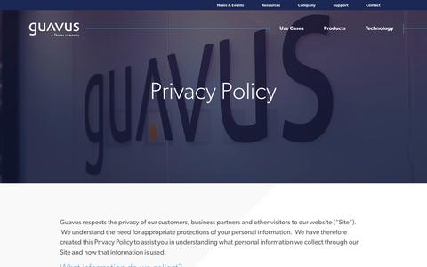 Screenshot of Privacy Page guavus.com - Privacy Policy - Guavus - Go Decisively - captured April 29, 2018