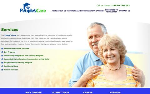 Screenshot of Services Page peoplescare.com - People's Care - Residential Care / Developmental Disabilities / Health Care - Chino Hills, California - Services - captured Nov. 18, 2015