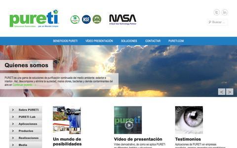 Screenshot of Home Page Menu Page pureti.es - PURETi Spain | Soluciones sostenibles. Por un mundo limpio. - captured Oct. 8, 2014