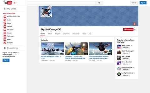 Screenshot of YouTube Page youtube.com - SkydiveOrangeDC  - YouTube - captured Nov. 5, 2014