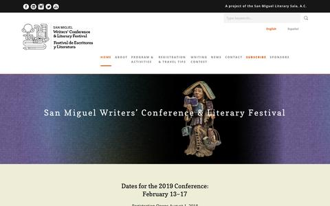 Screenshot of Home Page sanmiguelwritersconference.org - San Miguel Writers' Conference & Literary Festival - San Miguel Writers' Conference - captured July 25, 2018