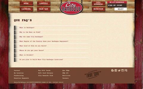 Screenshot of FAQ Page citybbq.com - Que FAQ's - City Barbeque - captured Oct. 2, 2014