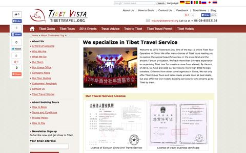 Screenshot of About Page tibettravel.org - Tibet Travel Agency,Tibettravel.Org - captured Sept. 19, 2014