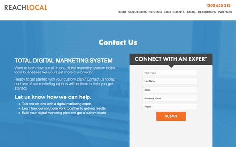 Screenshot of Landing Page reachlocal.com - Contact a Digital Marketing Expert | ReachLocal - captured May 20, 2016