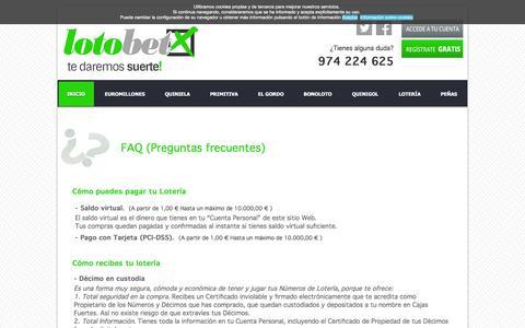 Screenshot of FAQ Page lotobet.es - LOTER�AS SAN LORENZO - captured July 17, 2016