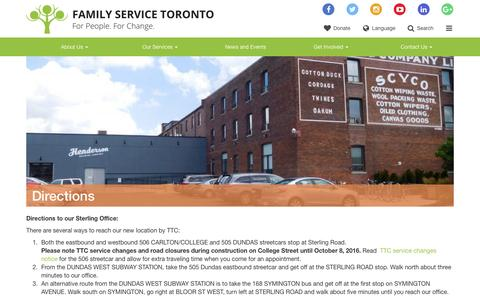 Screenshot of Maps & Directions Page familyservicetoronto.org - Directions - Family Service Toronto - captured Aug. 3, 2016