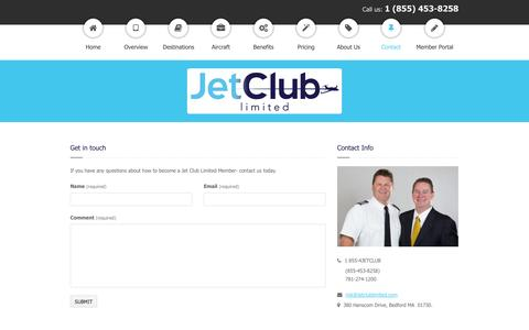 Screenshot of Contact Page jetclublimited.com - Jet Club Limited » Contact - captured Sept. 30, 2014