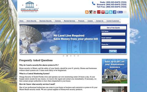 Screenshot of FAQ Page omegasecurity.com - FAQ | Omega Security - Home & Business Security in Miami, Florida - captured Oct. 7, 2014