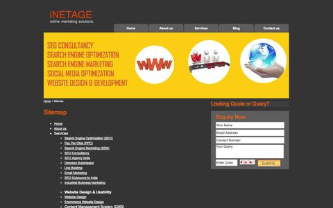 Screenshot of Site Map Page inetage.com - Sitemap - iNETAGE - captured Sept. 30, 2014