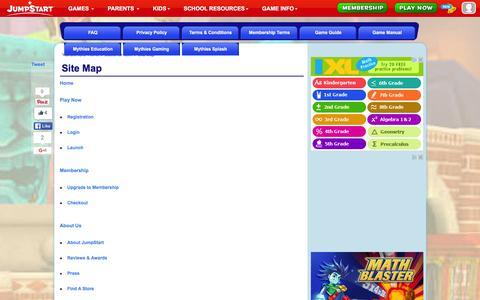 Screenshot of Site Map Page jumpstart.com - Site Map - 3D Virtual World for Kids - JumpStart - captured Jan. 14, 2016