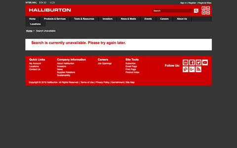 Screenshot of Case Studies Page halliburton.com - Search Unavailable - Halliburton - captured Dec. 10, 2016