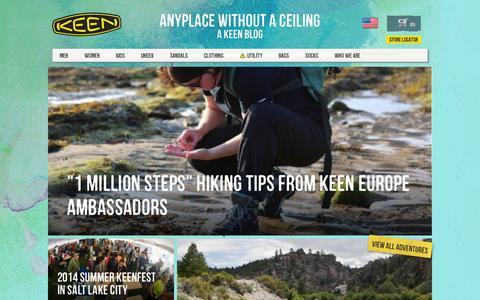 Screenshot of Blog keenfootwear.com captured Sept. 19, 2014