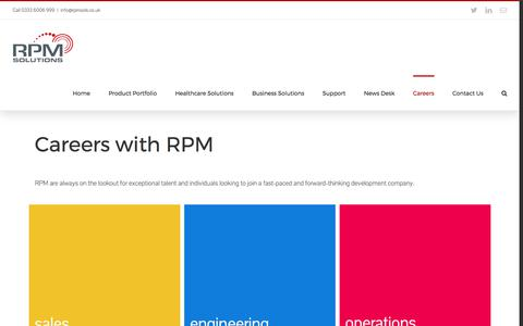 Screenshot of Jobs Page rpmsols.co.uk - Careers – RPM Solutions - captured Oct. 26, 2017