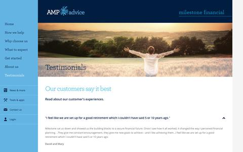 Screenshot of Testimonials Page amp.com.au - Client Testimonials - Milestone Financial - captured April 13, 2018