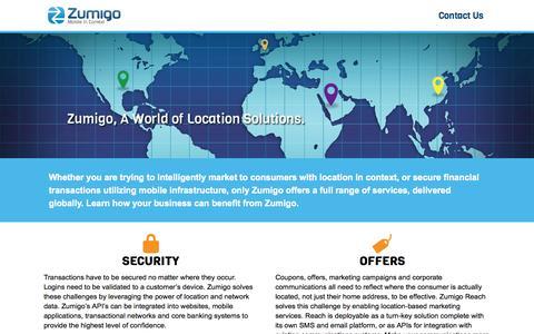 Screenshot of Home Page zumigo.com - Zumigo | A World of Location Solutions. - captured Sept. 17, 2014