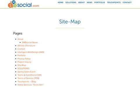 Screenshot of Site Map Page smbsocial.com - SMB-SiteMap - captured Jan. 5, 2017