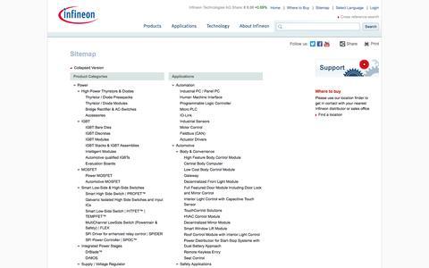 Screenshot of Site Map Page infineon.com - Sitemap - Infineon Technologies - captured Sept. 22, 2014