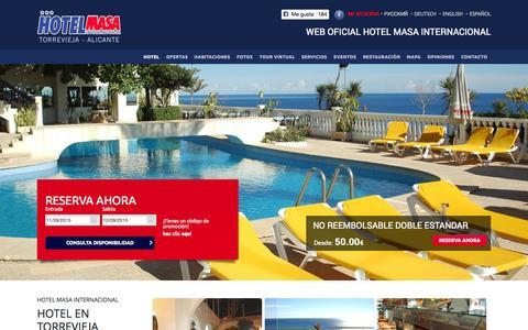 Screenshot of Home Page hotelmasa.com - Hotel Masa Internacional, WEB OFICIAL | Hotel 3 estrellas Torrevieja - captured Sept. 11, 2015