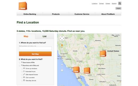 Screenshot of Locations Page efirstbank.com - FirstBank Find a Location - captured Sept. 18, 2014