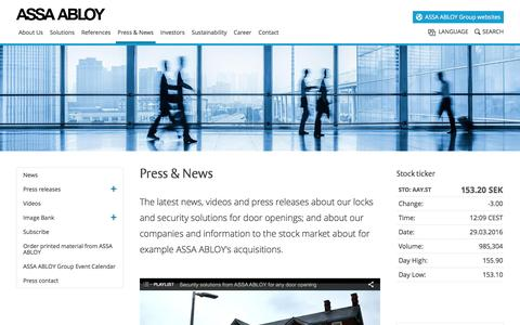 Screenshot of assaabloy.com - ASSA ABLOY Group news, videos and press releases - captured March 29, 2016