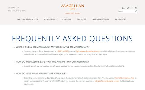 Screenshot of FAQ Page magellanjets.com - Frequently Asked Questions | Magellan Jets - captured May 17, 2019