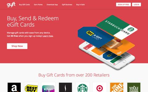 Screenshot of Home Page gyft.com - Gyft: Buy, Send & Redeem Gift Cards Online or with Mobile App - captured Oct. 13, 2015