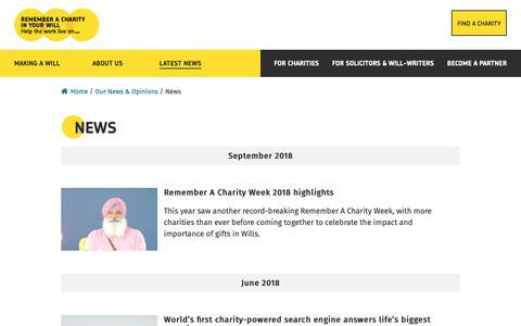 Screenshot of Press Page rememberacharity.org.uk - News - Remember A Charity - Remember A Charity - captured Oct. 20, 2018