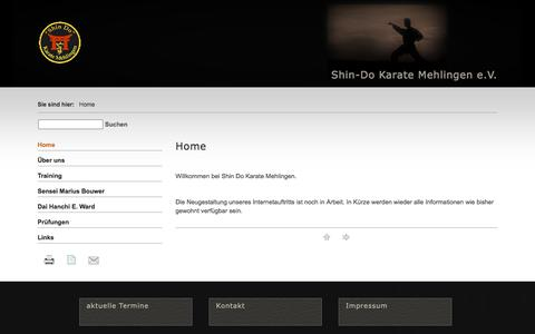Screenshot of Home Page shin-do-karate.de - Shin-Do Karate Mehlingen e.V. - Home - captured Jan. 28, 2018