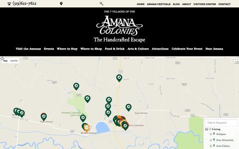 Screenshot of Maps & Directions Page amanacolonies.com - Interactive Map - Amana Convention and Vistors Bureau - captured Oct. 8, 2017