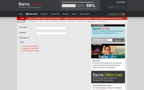 Screenshot of Login Page barna.org - Login - Barna Group - captured Oct. 5, 2014