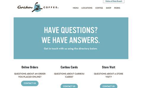 Screenshot of Contact Page cariboucoffee.com - Contact Us – Caribou Coffee - captured Jan. 17, 2019