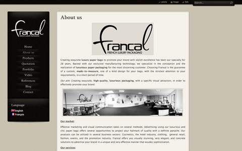 Screenshot of About Page theluxurypackaging.com - Francal, the specialist of luxury packaging | The Luxury Packaging - captured Oct. 6, 2014
