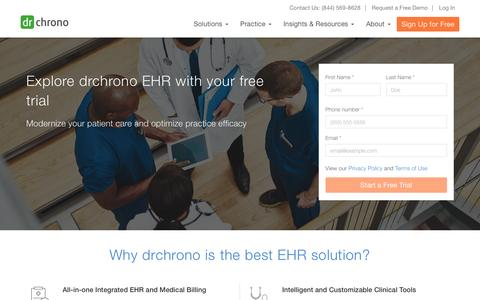 Screenshot of Signup Page Trial Page drchrono.com - Sign up - EHR, Practice Management & Medical API   drchrono - captured Nov. 11, 2016