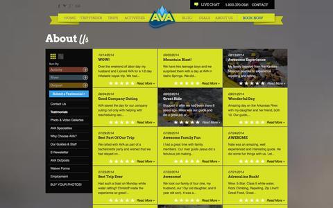 Screenshot of Testimonials Page coloradorafting.net - AVA Guest Testimonials & Customer Reviews    Arkansas Valley Adventures - captured Oct. 31, 2014