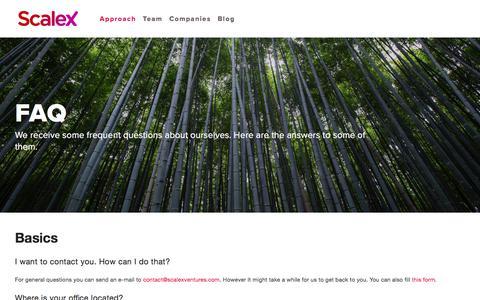 Screenshot of FAQ Page scalexventures.com - FAQ — ScaleX Ventures - captured April 25, 2018