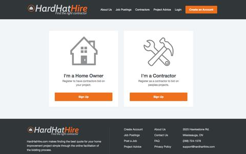 Screenshot of Signup Page hardhathire.com - HardHatHire - The Right Contractor for Your Job - captured Oct. 2, 2014