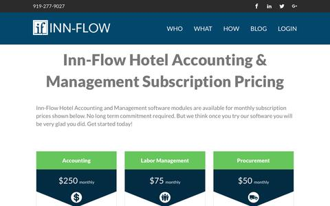 Screenshot of Pricing Page inn-flow.com - Pricing - Inn Flow - captured Aug. 6, 2016