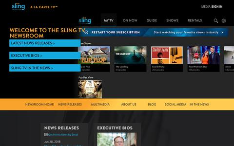 Screenshot of Press Page sling.com - Sling TV - WELCOME TO THE SLING TV NEWSROOM - captured July 10, 2018