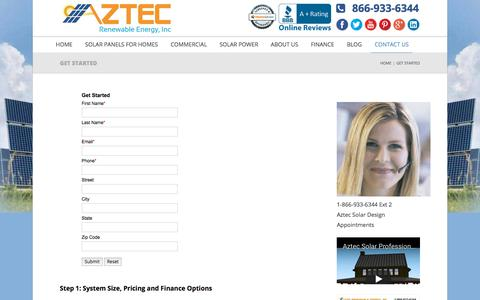 Screenshot of Contact Page aztecwindsolarpower.com - Get Started - Contact Us - Aztec Wind & Solar Power - captured Oct. 9, 2017