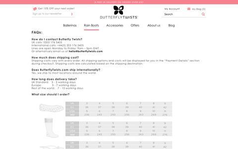 Screenshot of Support Page butterflytwists.com - Customer Service - captured Sept. 25, 2014