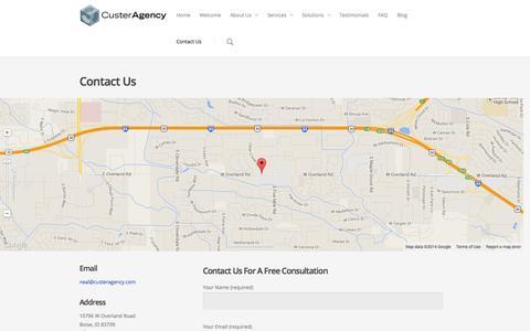 Screenshot of Contact Page custeragency.com - Custer Agency: Contact Us - captured Nov. 2, 2014