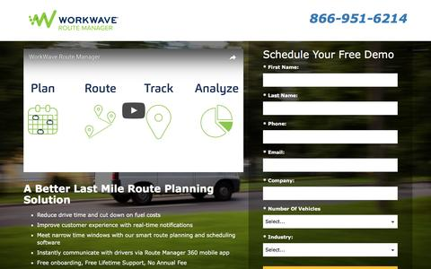 Screenshot of Landing Page workwave.com - Route Manager - captured Feb. 25, 2017