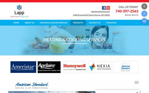 Screenshot of Products Page lappheating.com - Heating and Cooling Services-Mt. Vernon, OH-Lapp Heating & Cooling - captured Sept. 27, 2018