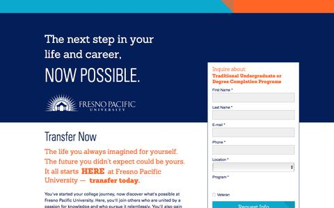 Screenshot of Landing Page fresno.edu - Transfer Now - Fresno Pacific University - captured Oct. 13, 2016