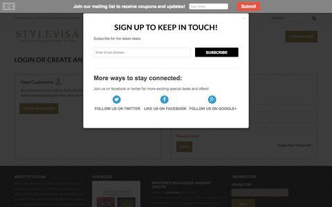 Screenshot of Login Page stylevisa.com - Customer Login - captured Sept. 30, 2014
