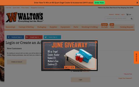 Screenshot of Login Page waltonsinc.com - Customer Login - captured June 11, 2017