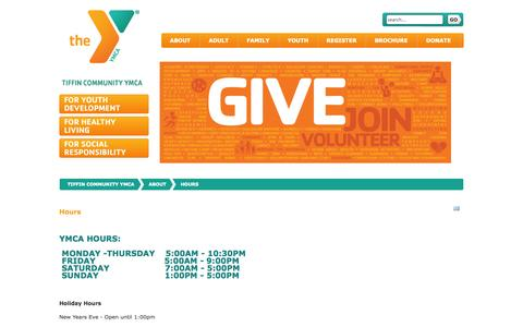 Screenshot of Hours Page tiffinymca.org - Tiffin Community YMCA - Hours - Tiffin Community YMCA - captured Nov. 5, 2014