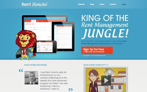 Screenshot of Home Page renthoncho.com - Rent Honcho - King of The Rent Management Jungle - captured Sept. 30, 2014