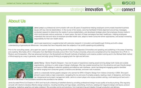 Screenshot of About Page stratinnovation.com - About Us - Strategic Innovation - Care Connect - captured Oct. 7, 2014